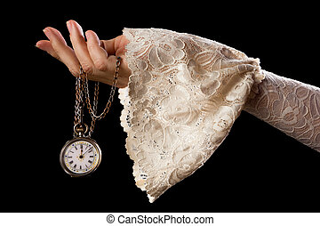 Hand holding antique watch - Female hand in lace sleeve...