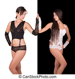 Rivalry in lingerie - Two women rivals dressed in black and...
