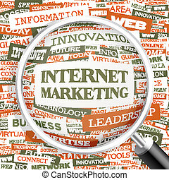 INTERNET MARKETING. Background concept wordcloud...