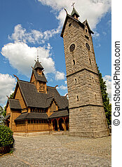 Vang stave church in Poland - Vang stave church in Karpacz,...