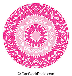 Tribal folk aztec geometric pattern - Vector round pattern...