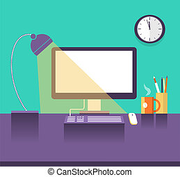 Interior office place in night timeVector illustration of...