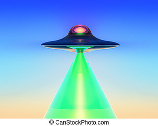 green ray - science fiction illustration , a flying saucer...