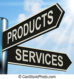 Products Services Signpost Showing Business Merchandise And...