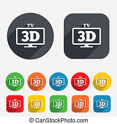 3D TV sign icon 3D Television set symbol New technology...