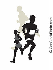Marathon - Illustration of two marathon runners
