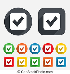 Check mark sign icon. Checkbox button. Circles and rounded...