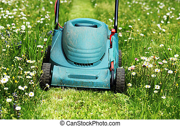 lawn mowers - electric lawn mowers running on green