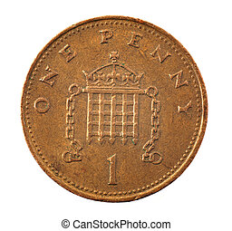 1 penny coin - detailed closeup macro of old, aged,...
