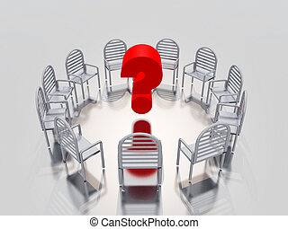 question mark - a circle of chairs ,with a question mark in...