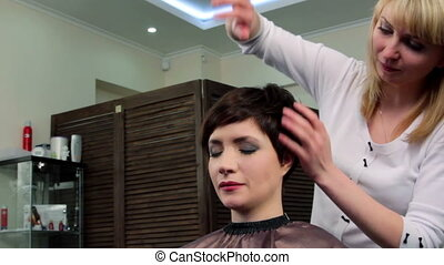 Hairstyle - Stylist doing hair style for young woman with...