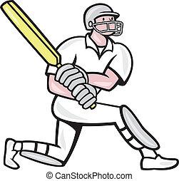 Cricket Player Batsman Batting Kneel Cartoon - Illustration...