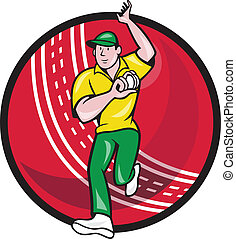 Cricket Fast Bowler Bowling Ball Front Cartoon -...