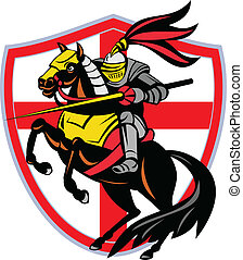 English Knight Lance England Flag Shield Retro -...