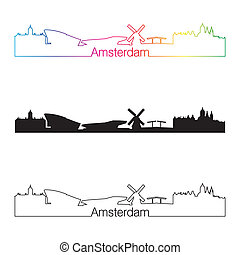Amsterdam skyline linear style with rainbow in editable...
