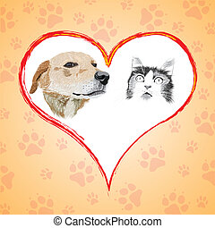 Cartoon cat and dog with heart.
