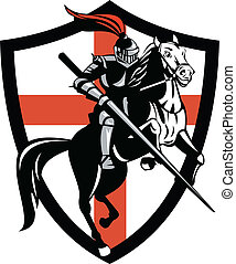 English Knight Ridiing Horse England Flag Retro -...