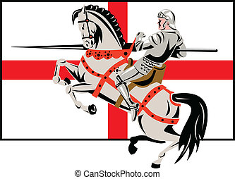 English Knight Lance Horse England Flag Side Retro -...