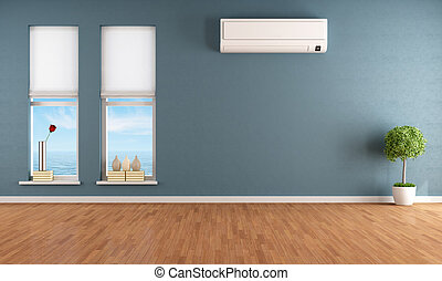 Blue empty room with air conditioner - Blue empty room with...