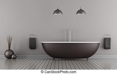 Minimalist bathroom - Minimalist bathroom with brown bathtub...
