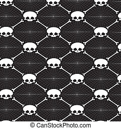 Seamless black background with vector skulls