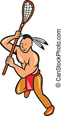 Native American Lacrosse Player Crosse Stick - Illustration...