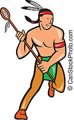 Native American Lacrosse Player Cartoon - Illustration of a...