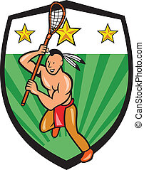 Native American Lacrosse Player Shield - Illustration of a...