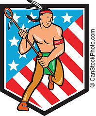 Native American Lacrosse Player Stars Stripes Shield -...