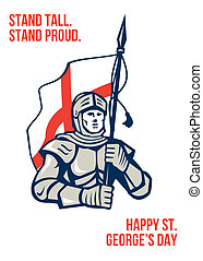 Stand Tall Proud English Happy St George Greeting Card -...