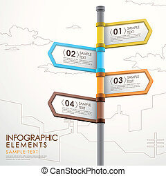 abstract signpost infographics - modern 3d vector abstract...