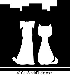 dog and cat on city background - dog and cat silhouette on...