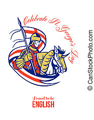 St. George Day Celebration Proud to Be English Retro Poster...