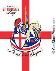Happy St George Day Proud to Be English Retro Poster -...