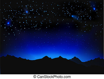 Beautiful night space landscape with silhouette mountains...
