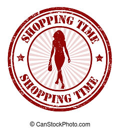 Shopping time stamp - Shopping time grunge rubber stamp on...