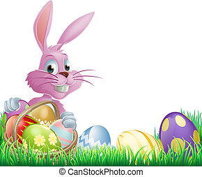 Pink Easter eggs bunny rabbit with a wicker basket full of...