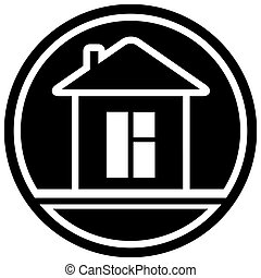 icon with home and window - black icon with home and window...