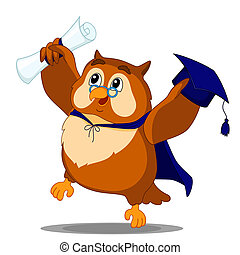 owl graduate - happy owl received the diploma on graduation...