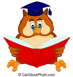 owl reading a book - wise owl in glasses reading a book