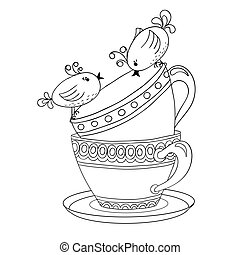 Card with tea cups and art birds
