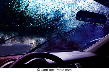 rain - facia of the car and drops on the windshield
