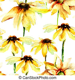 Seamless pattern with yellow flowers, watercolor...