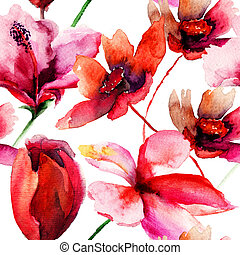 Seamless wallpaper with red flowers, watercolor illustration...