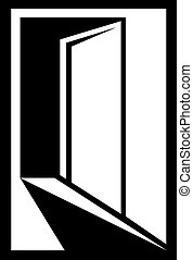 icon with open door - black and white icon with open door...