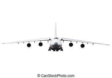 cargo aircraft is landing - cargo aircraft isolated on the...