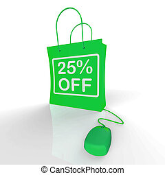 Twenty-five Percent Off Bag Represents Online Shopping 25...
