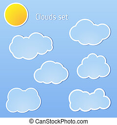 Clouds set and sun Vector illustration for your design