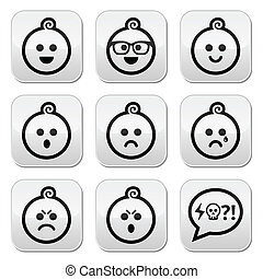 Baby boy faces, avatar vector butto - Collection of child...