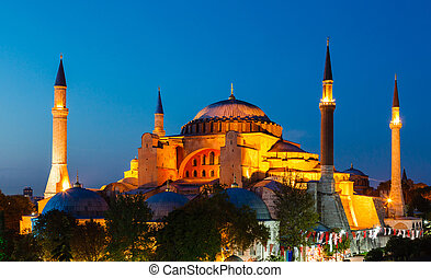 Hagia Sophia with sunset on a background of clear sky,...